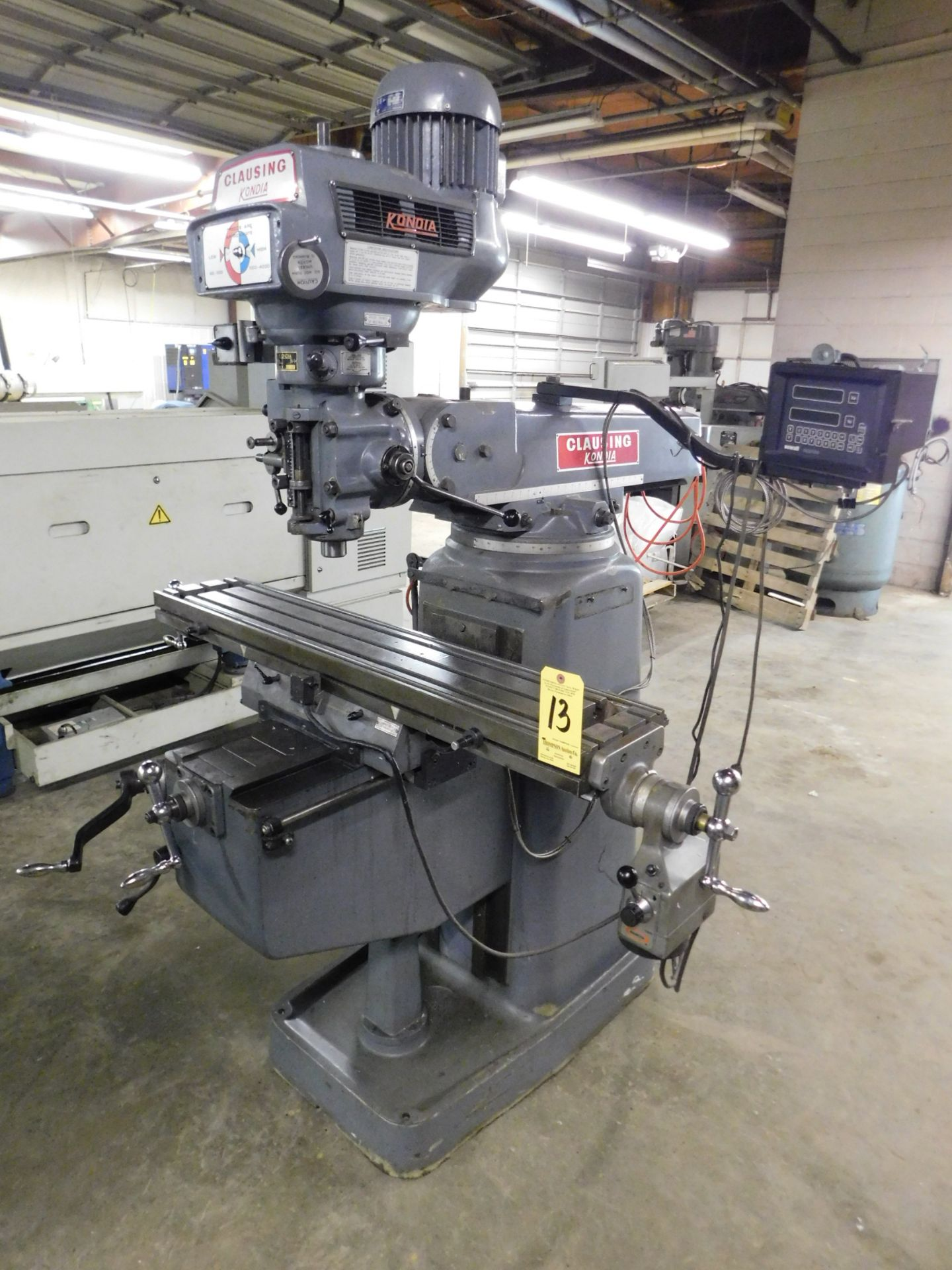 """Lot 13 - Clausing Kondia FV-1 Variable Speed Vertical Mill SN X-86, Servo Table Powerfeed, 9"""" x 48"""" Table,"""