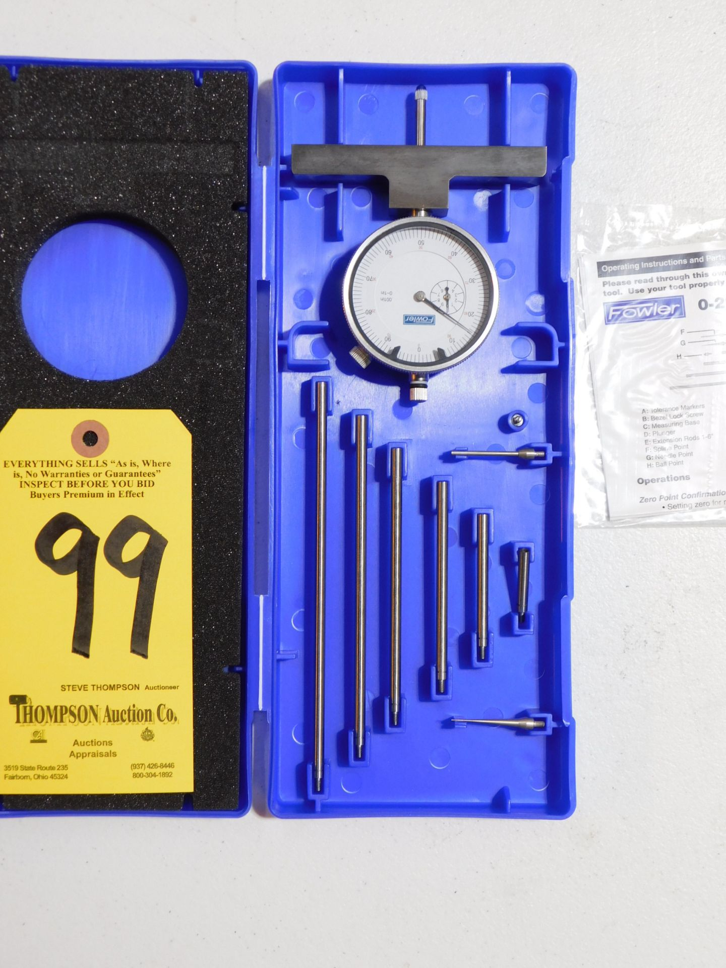 """Lot 99 - Fowler Dial Depth Gage, 0-22"""", Lot Location 3204 Olympia Dr. A, Lafayette, IN 47909"""