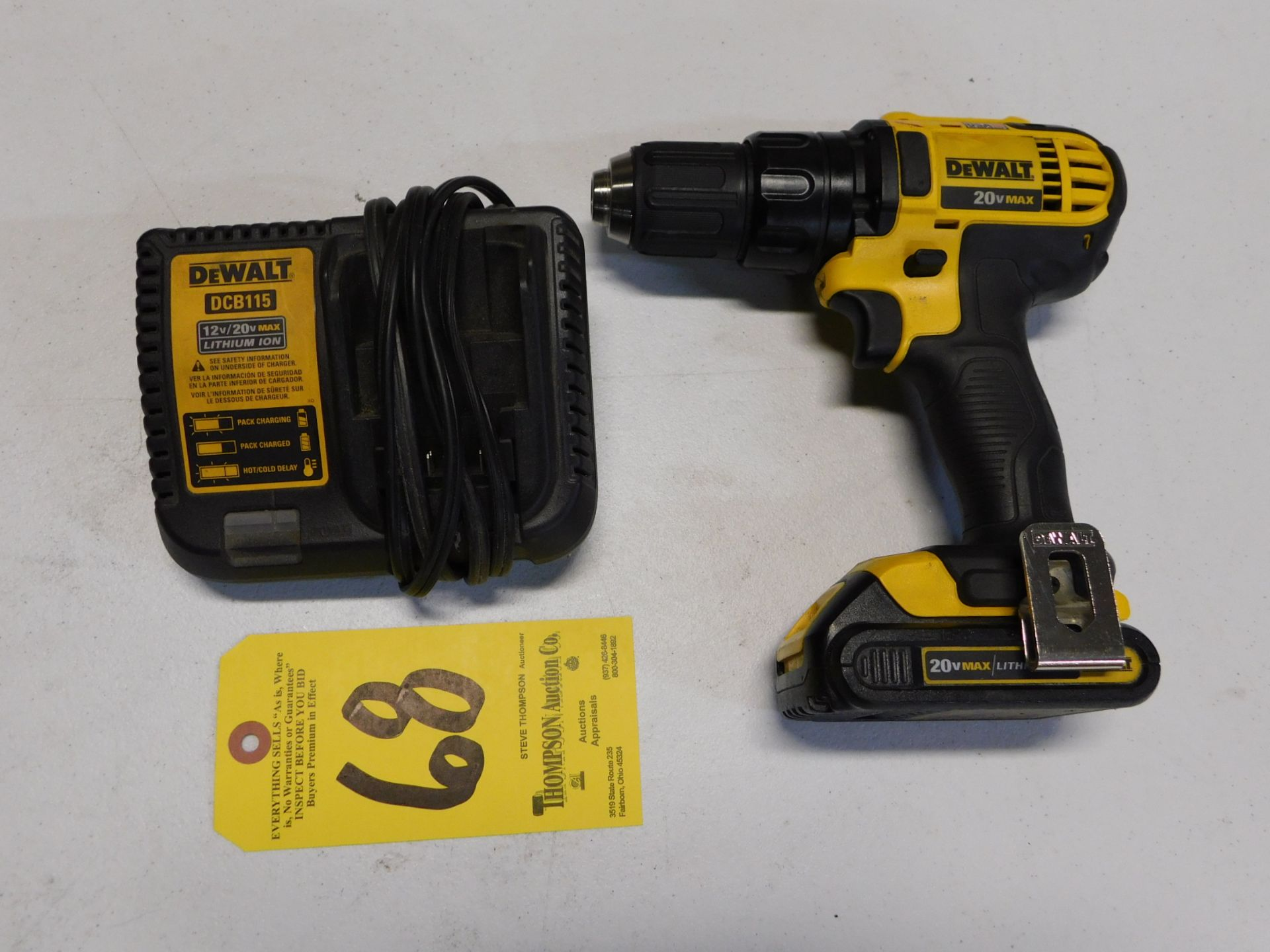 "Lot 68 - Dewalt DCD780 1/2"" Cordless 20V Drill with Battery and Charger, Lot Location 3204 Olympia Dr. A,"