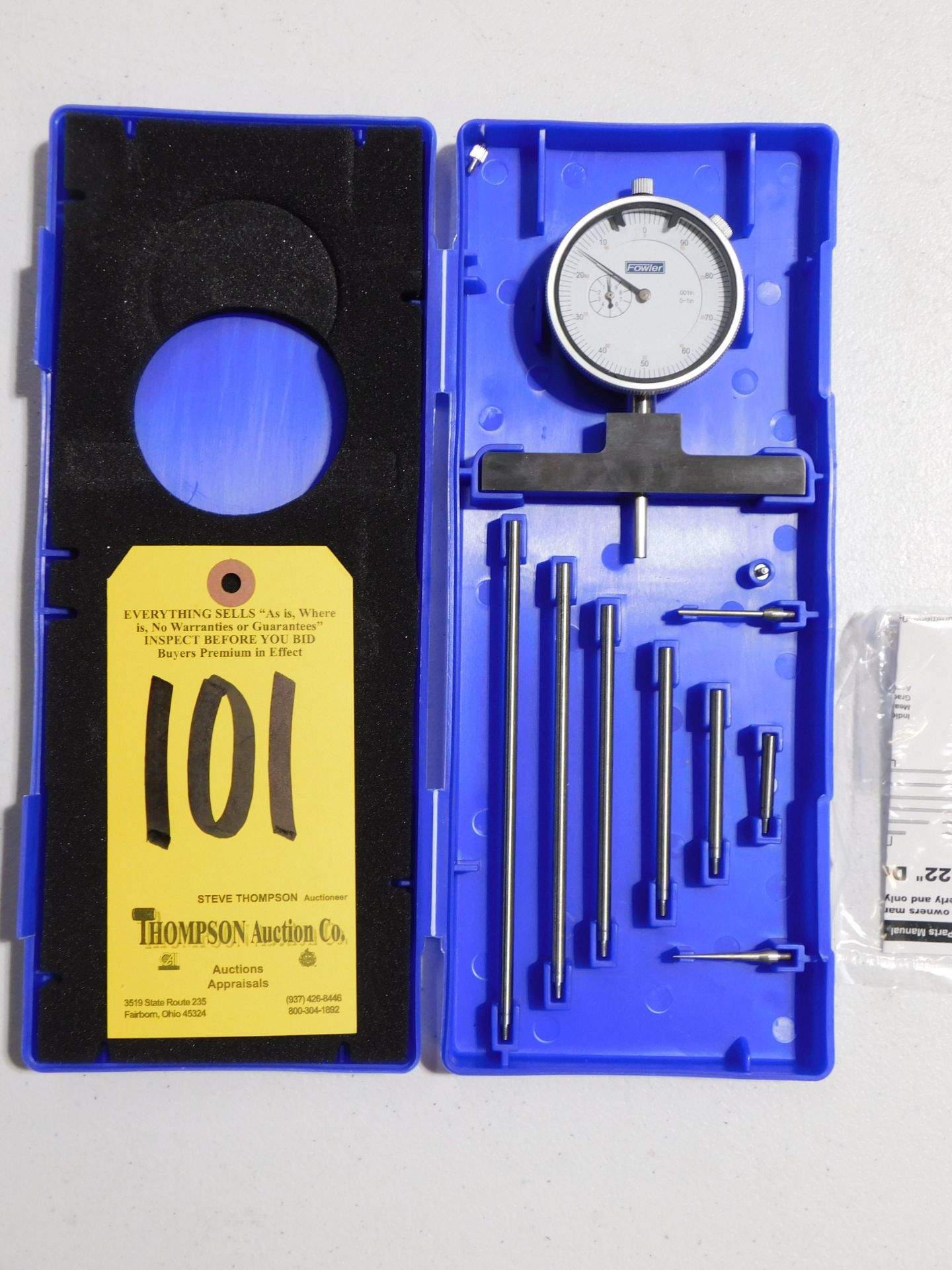 """Lot 101 - Fowler Dial Depth Gage, 0-22"""", Lot Location 3204 Olympia Dr. A, Lafayette, IN 47909"""