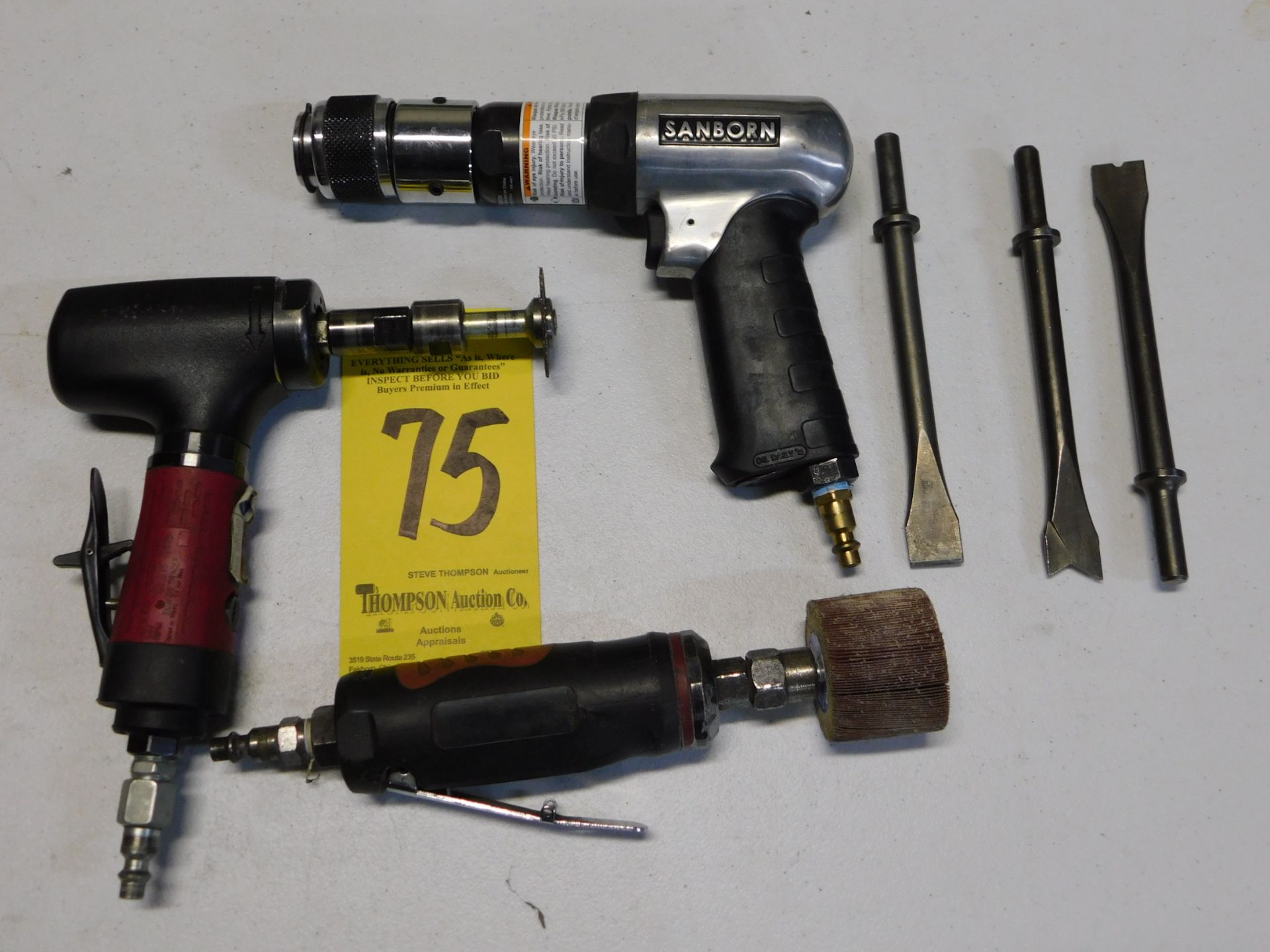 Lot 75 - Pneumatic Chisel and (2) Pneumatic Grinders, Lot Location 3204 Olympia Dr. A, Lafayette, IN 47909