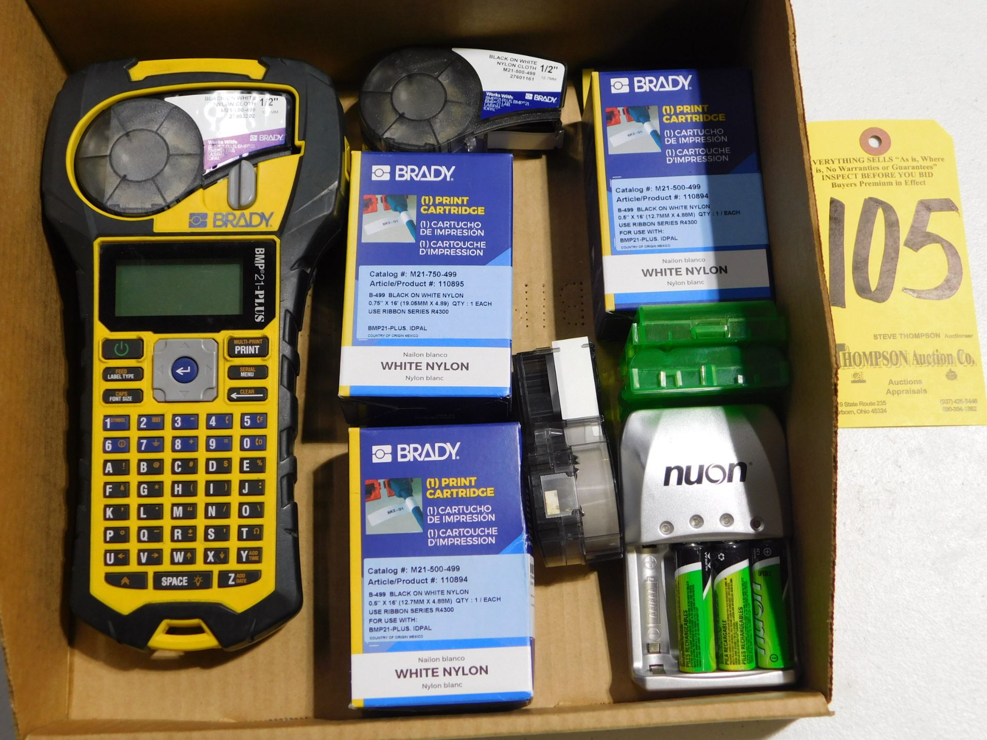 """Lot 105 - Brady BMP 21-PLUS Label Printer, 1/2"""" with Supplies, Lot Location 3204 Olympia Dr. A, Lafayette,"""