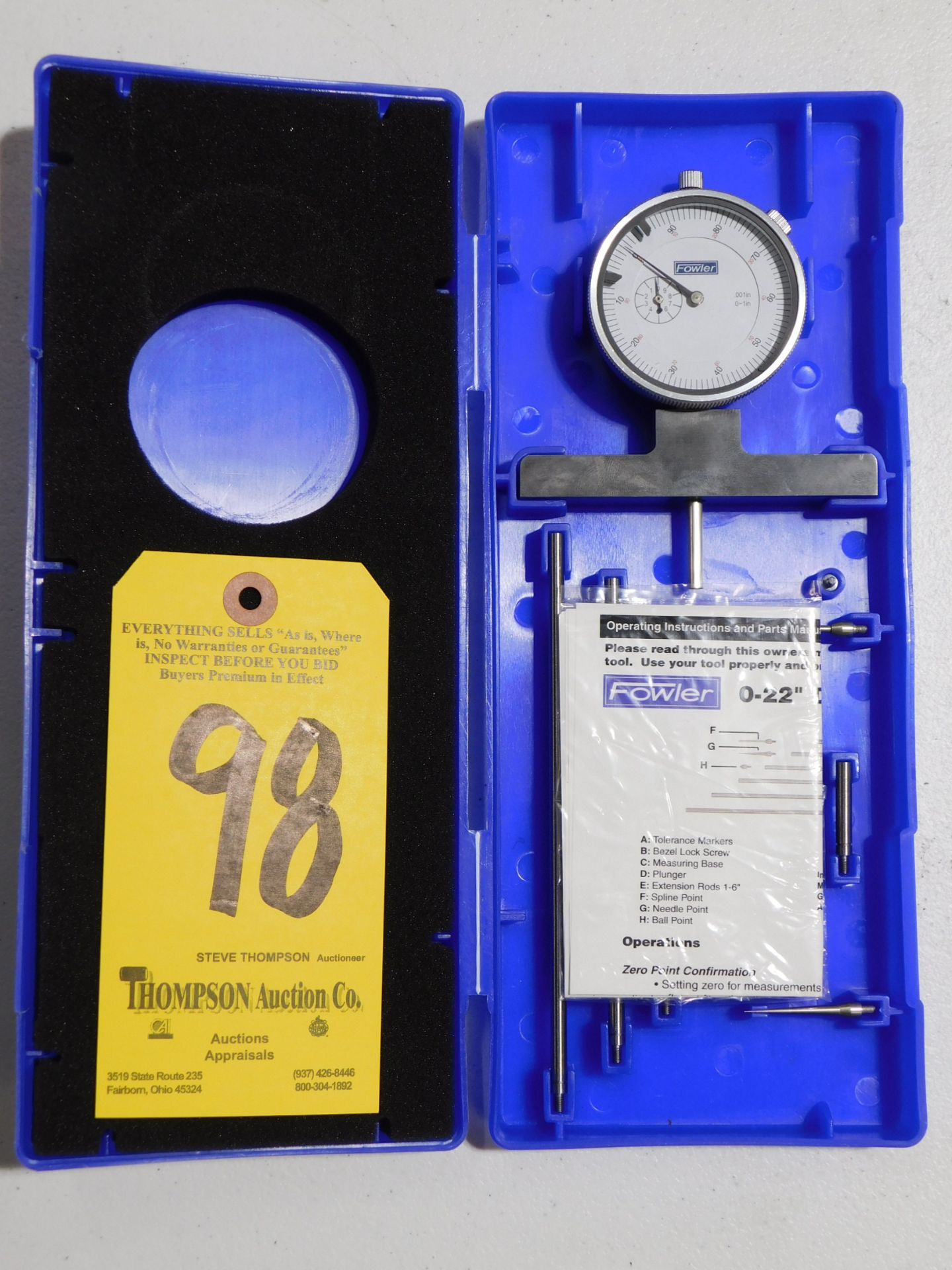 """Fowler Dial Depth Gage, 0-22"""", Lot Location 3204 Olympia Dr. A, Lafayette, IN 47909"""