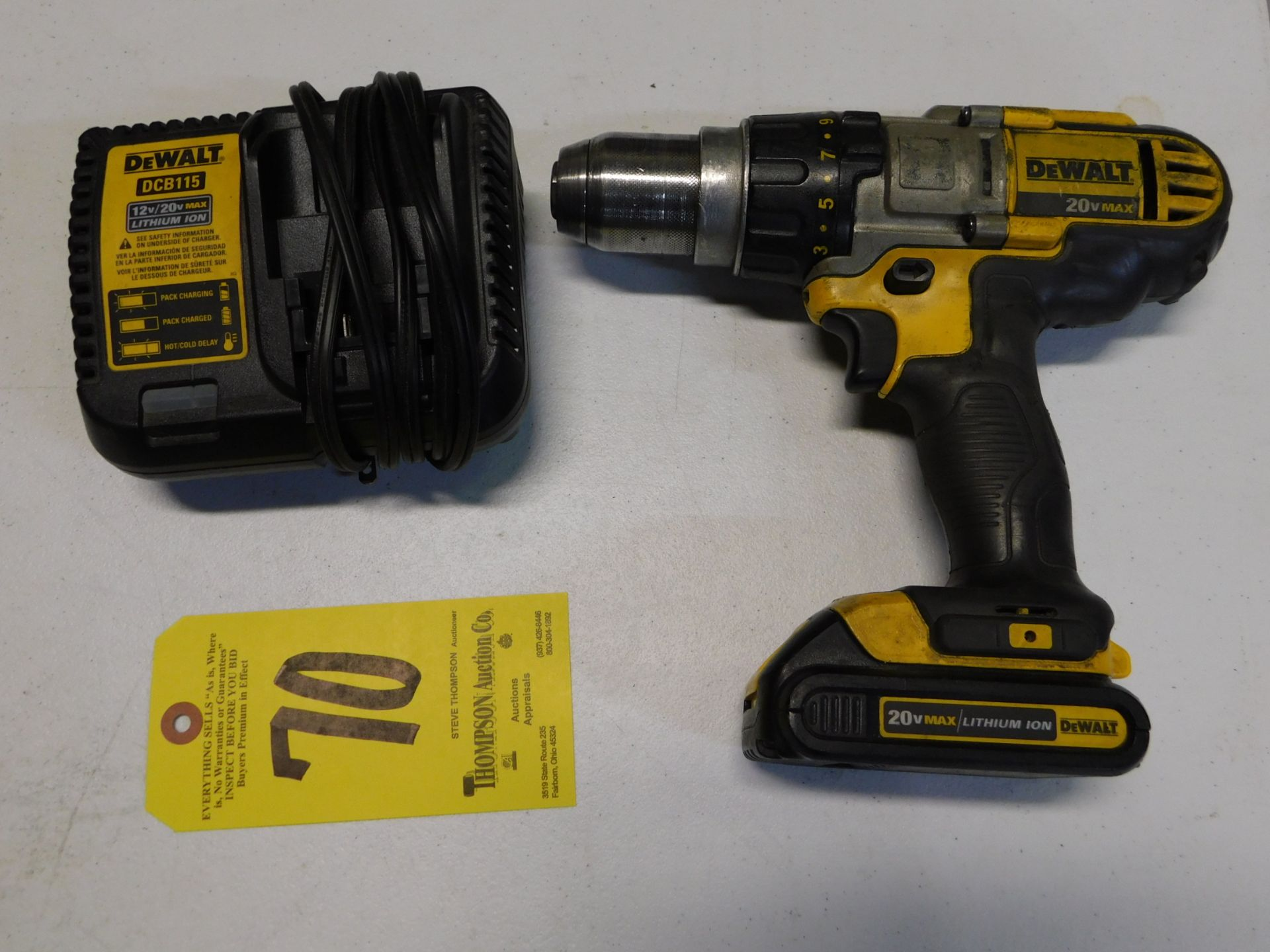 """Lot 70 - Dewalt DCD985 1/2"""" Cordless 20V Drill with Battery and Charger, Lot Location 3204 Olympia Dr. A,"""