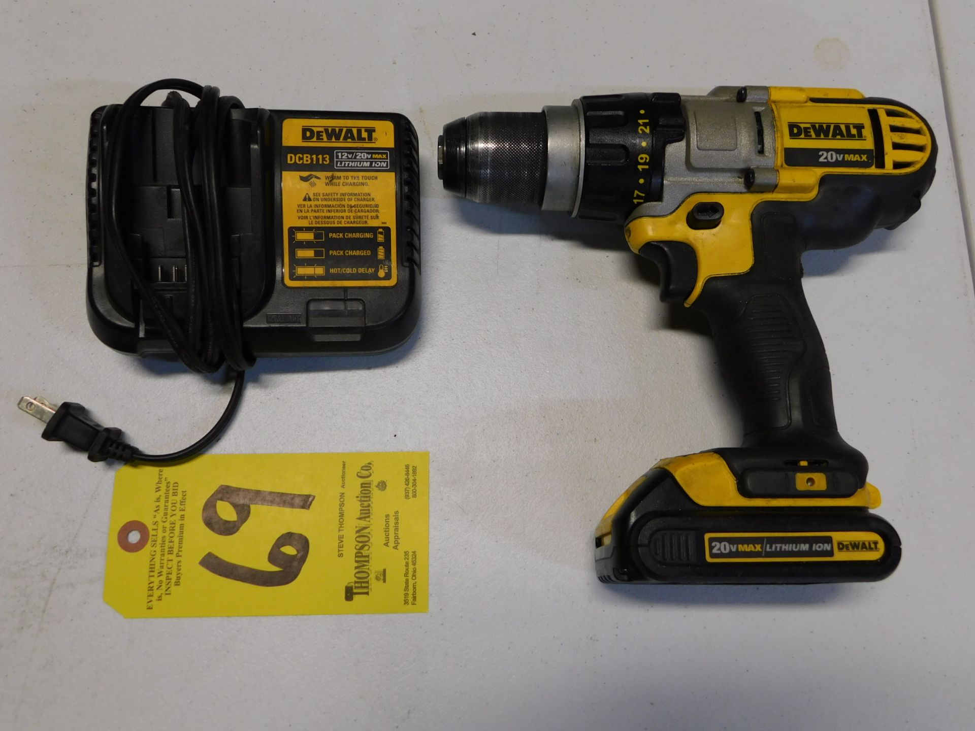 """Lot 69 - Dewalt DCD980 1/2"""" Cordless 20V Drill with Battery and Charger, Lot Location 3204 Olympia Dr. A,"""