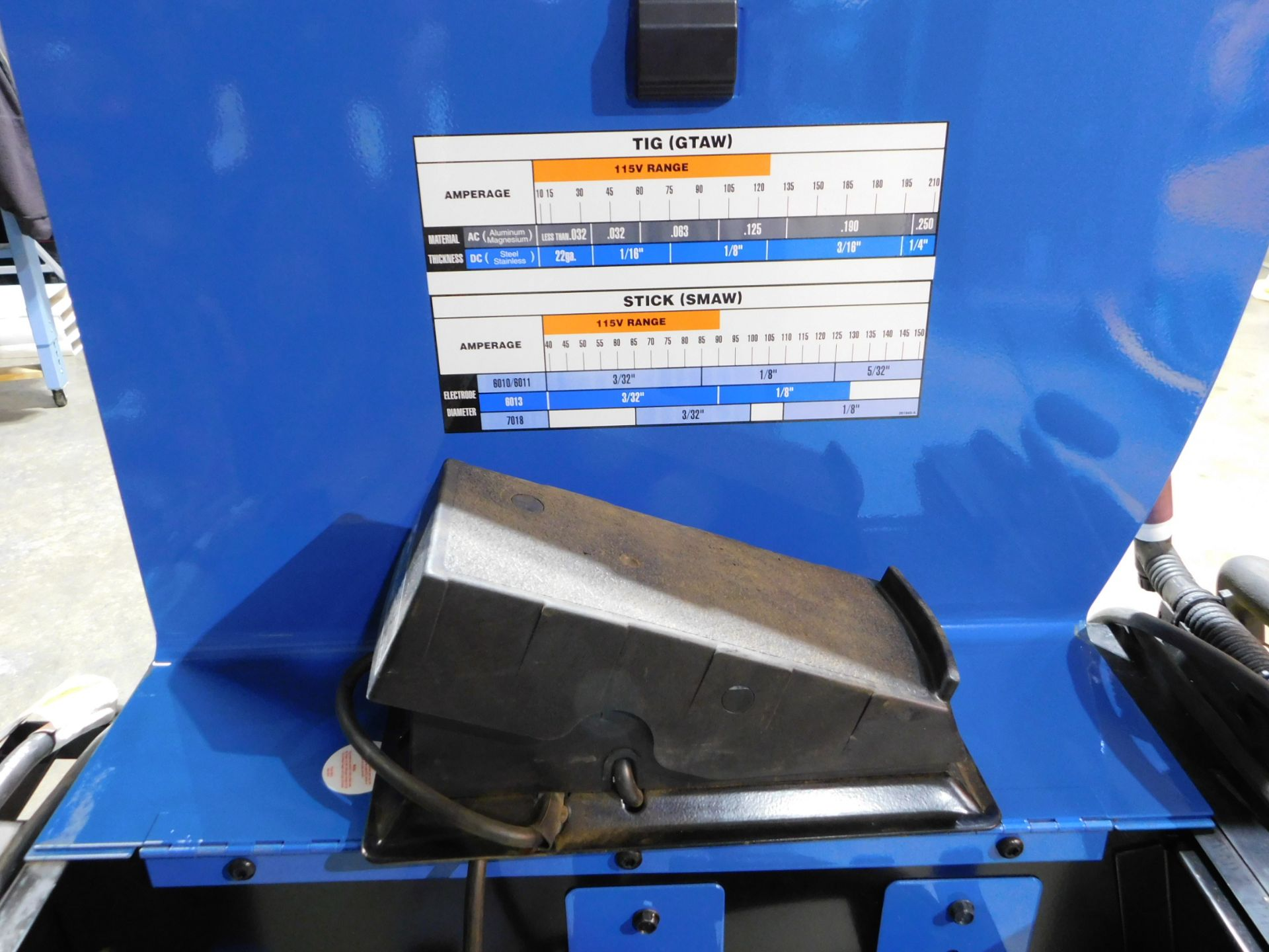 Lot 115 - Miller Syncrowave 210 Tig Welder, SN MJ260383L, with Tig Gun, Ground Cable, and Regulator, 115/230V,
