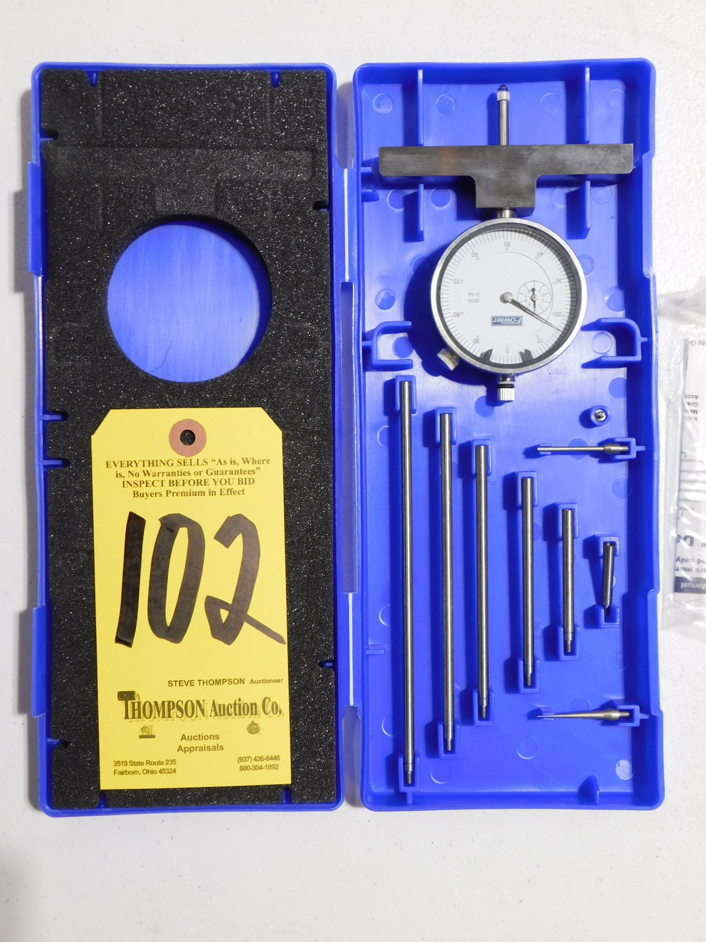 """Lot 102 - Fowler Dial Depth Gage, 0-22"""", Lot Location 3204 Olympia Dr. A, Lafayette, IN 47909"""