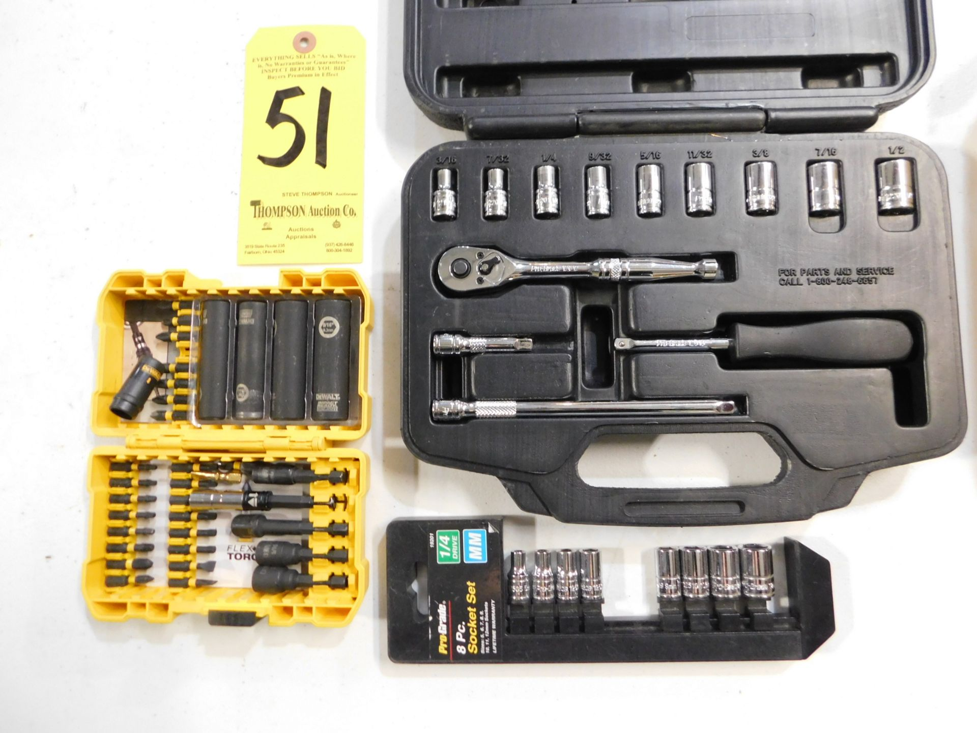 Lot 51 - Ratchet and Socket Set, Sockets, and Dewalt Driver Kit, Lot Location 3204 Olympia Dr. A,