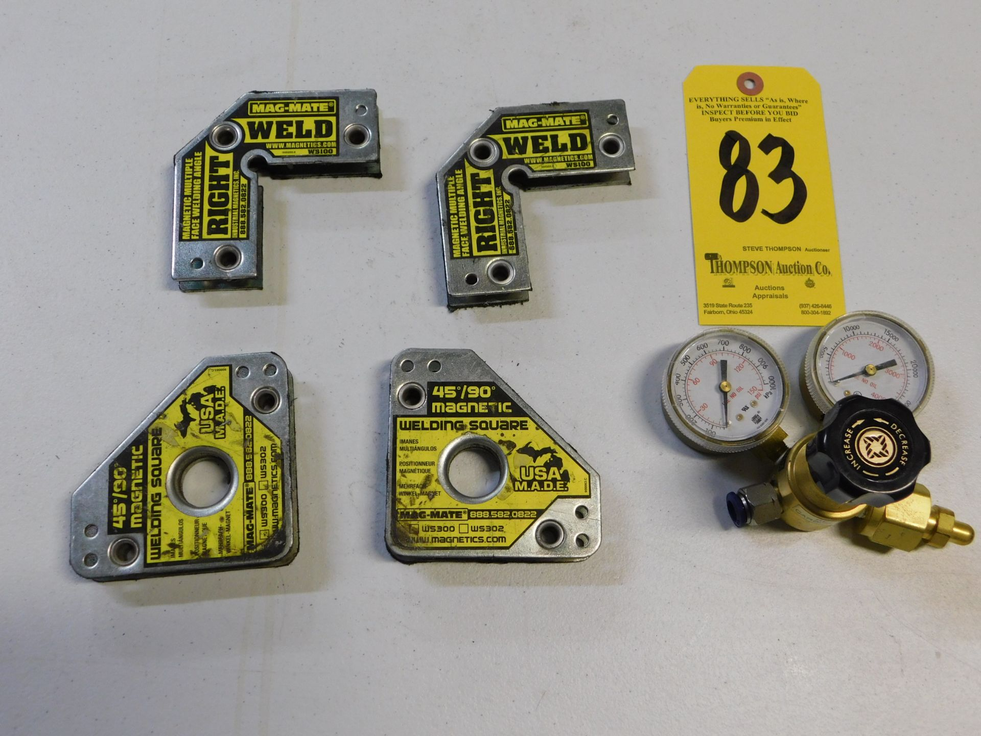 Lot 83 - Welding Square Magnets and Regulator, Lot Location 3204 Olympia Dr. A, Lafayette, IN 47909
