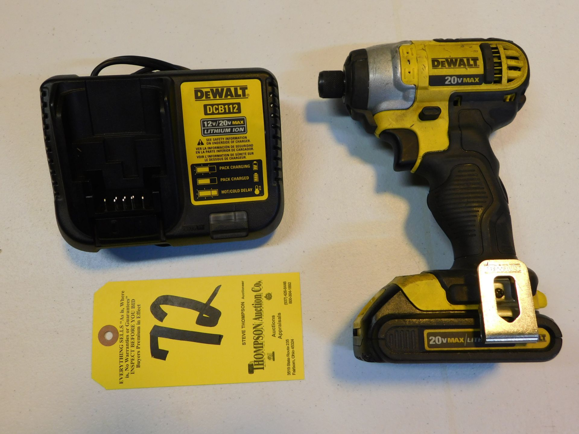 Lot 72 - Dewalt DCF885 Cordless 20V Impact Driver with Battery and Charger, Lot Location 3204 Olympia Dr.