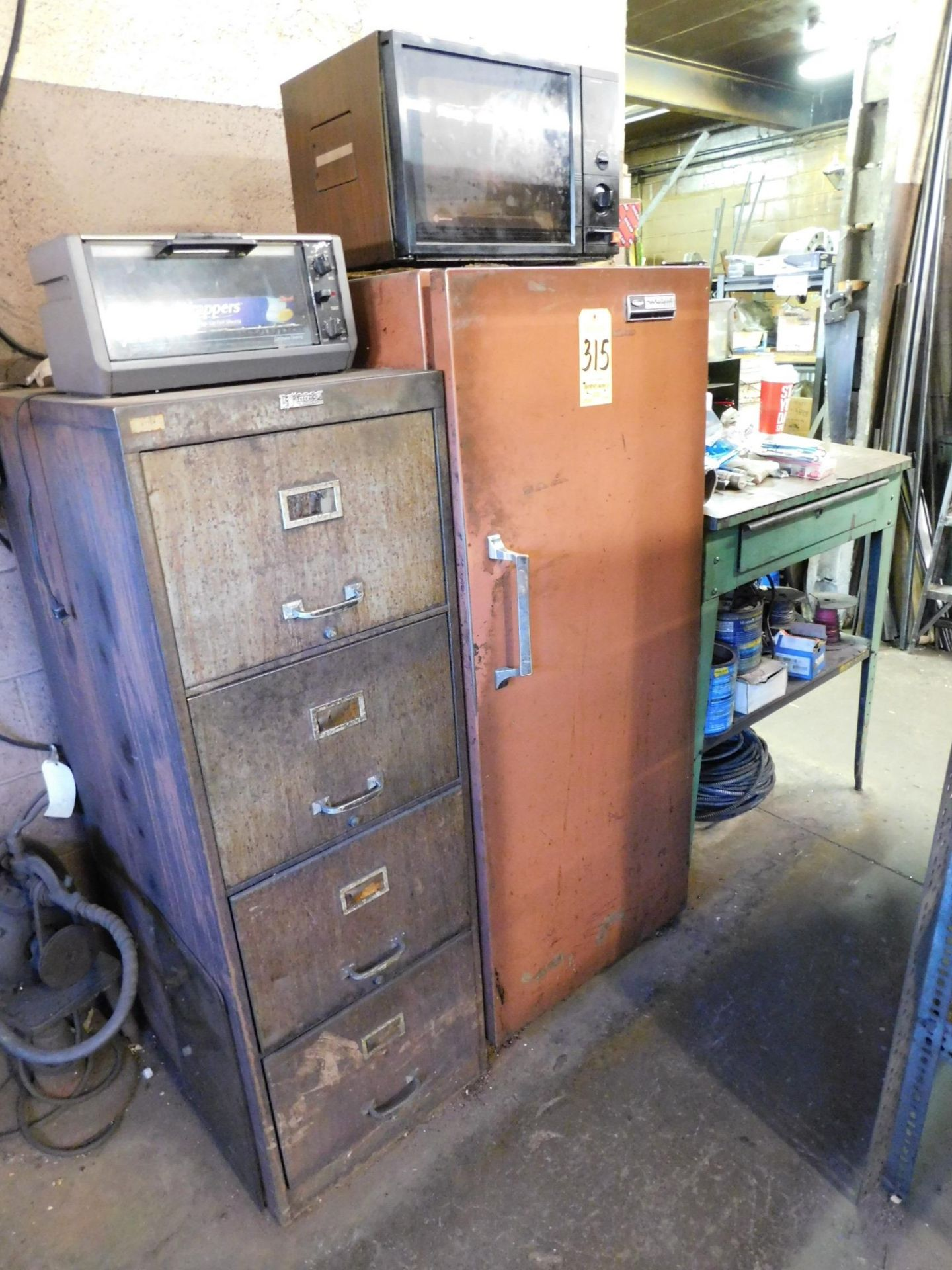 Lot 315 - Whirlpool Refrigerator, 4-Drawer File Cabinet, and Foreman's Desk