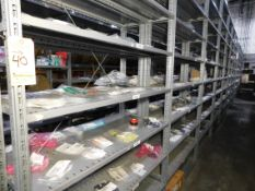 Shelving & Contents, Misc. Connectors, Components, Shelving 10'H x 4'W x 1'D, (8) Shelves, (7)