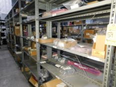 Shelving & Contents, Switches, Screws, Transformers and Misc. Components, Shelving 8'H x 4'W x 1'