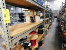 Shelving & Contents, Misc. Terminals, Contacts and Cable, Shelving 8'H x 6'W x 2'D, (3) Shelves, (4)