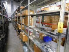 Shelving & Contents, Misc. Connectors, Cords, Components, Shelving 8'H x 4'W x 1'D, (5) Shelves, (7)