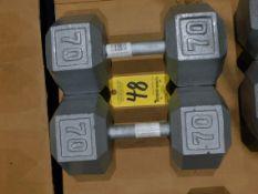 (2) Dumbbells, 70 lb.