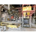 Fielding 100-Ton Hydraulic Press with Fielding Concrete Mixer, Bins, Conveyors, and Silo