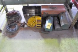 Lot-Cords, Hose, Organizer, Parts Bins and Small Tool Boxes Under (1) Bench