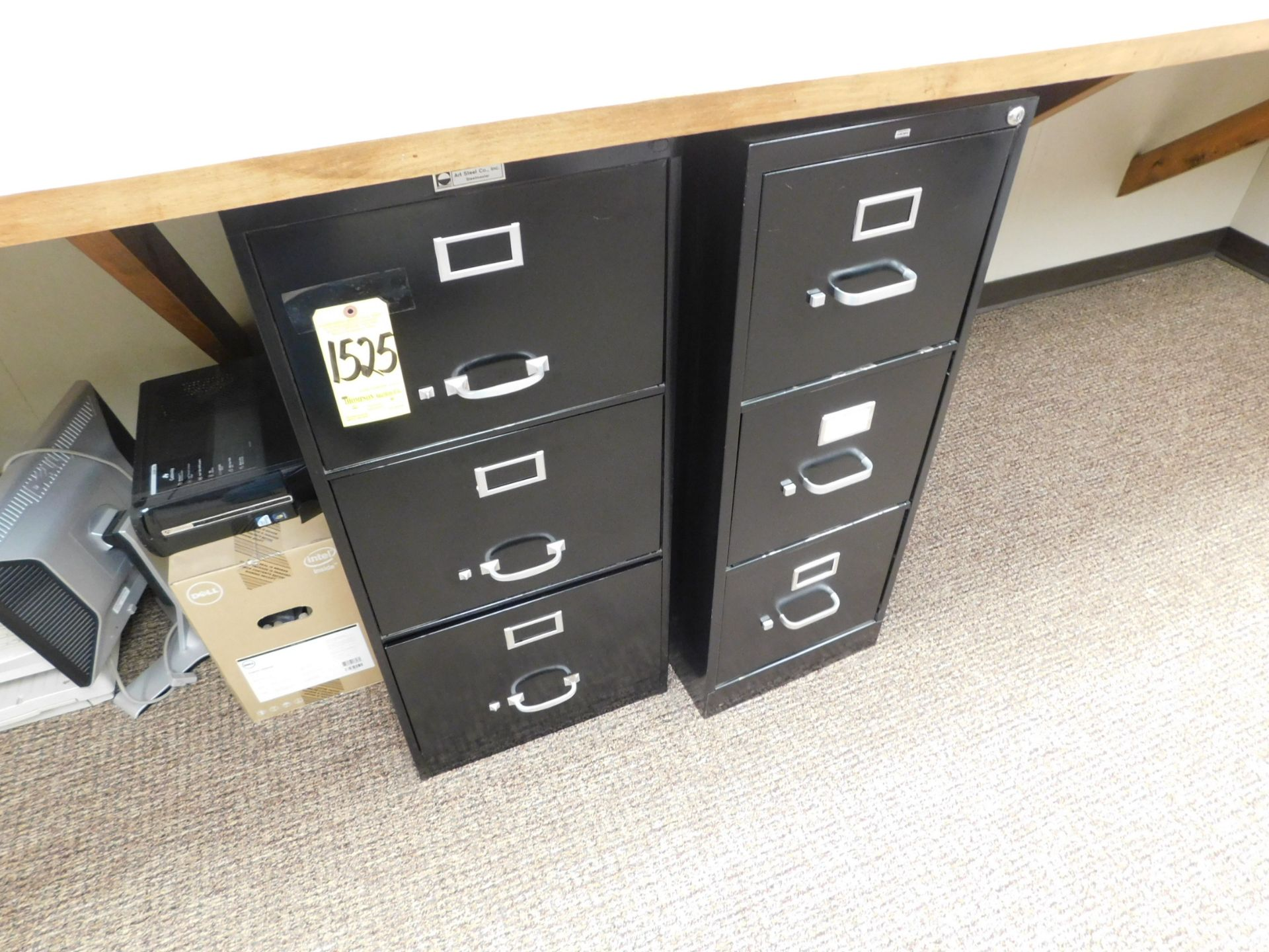 Lot 1525 - (2) 3-Drawer File Cabinets, Monitor, Printer, Fax Machine, Paper Cutter, Hole Punch, and Brother