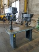 Clausing Twin Spindle Drill Press Mounted on 4-Spindle Production Table