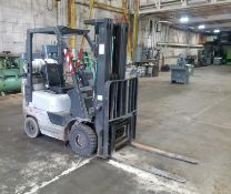 Nissan Model MAP1F1A15LV Fork Lift, s/n AP1F1-9T0369, 2,400 Lb. Capacity, LP, Hard Tire, Cage,