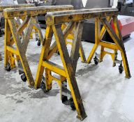 """Pair Bison Model Custom Working Stands, 60"""" W x 48"""" H x 15,000 Lbs. Capacity, s/n's C05139-01 and"""