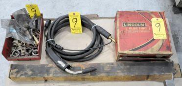 Lot-(1) Mig Welding Gun, (1) Partial Spool of Mig Wire and Various Welder Maintenance in (1) Bin