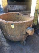 "Slag Pot 48"" diameter x 48"" deep, 3"" part of top missing"