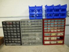 (3) Parts Cabinets and (15) Blue Plastic Parts Totes