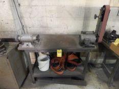 Bench with Grinder and Belt Sander