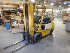 Komatsu Forklift, LP Gas, Hard Tire, Side Shift, 3-Stage Mast, 5,000 lbs (estimated) Cap., Loading