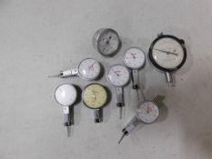 (9) Mitutoyo Dial Indicators Model 20465 and (1) Peacock No. 107