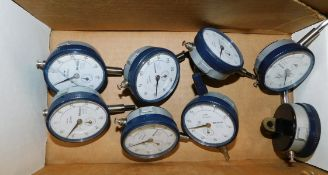 (8) Mitutoyo Dial Indicators with Lug Back, .01 MM