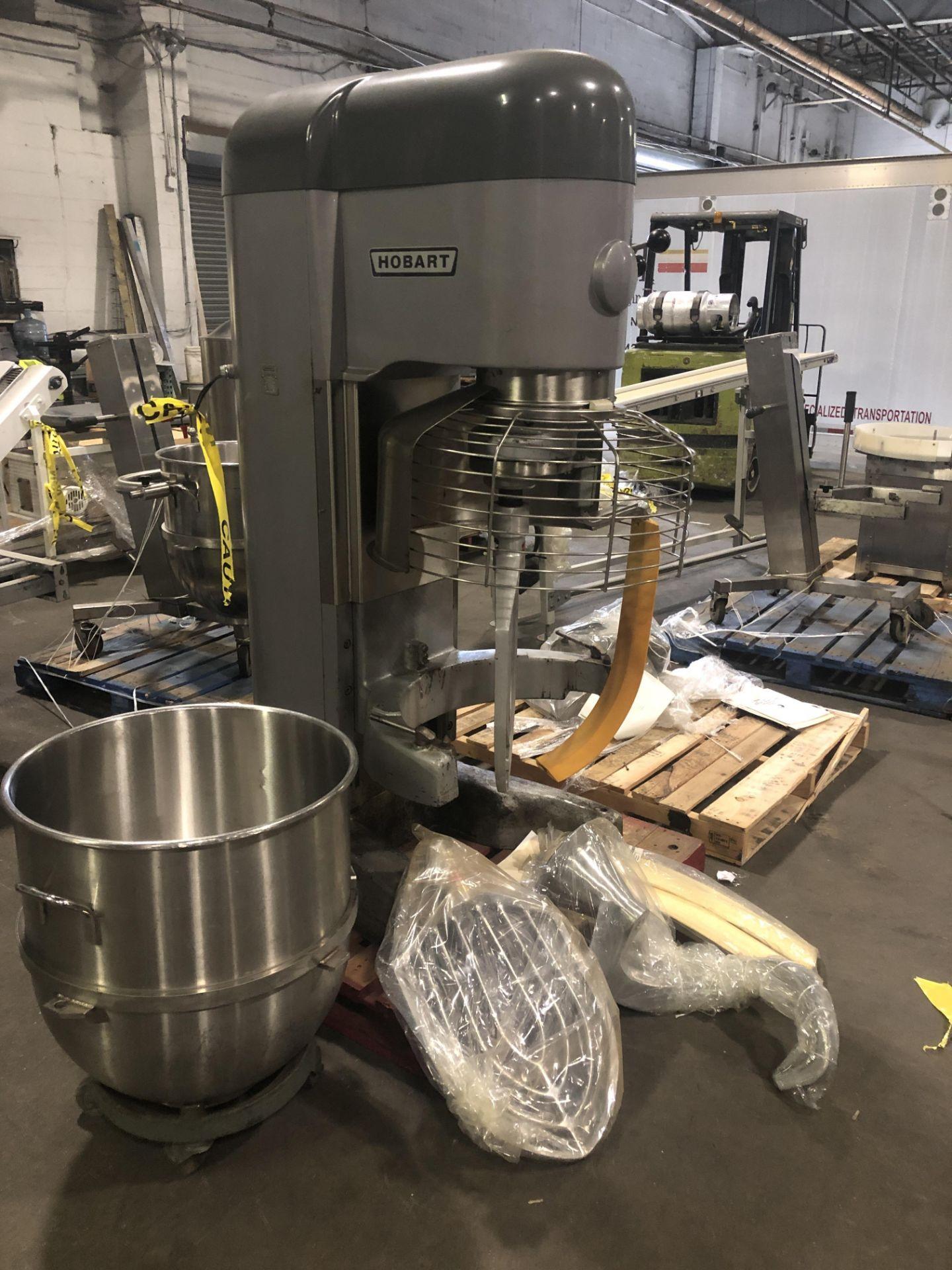 Lot 17 - Hobart model V1401 140-qt Mixer - (2) Hercules manual hydraulic bowl lifts - (2) Stainless Steel