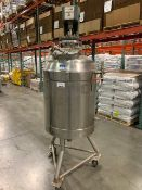 "Utensco 65 Gallon Stainless Steel Jacketed and Agitated Tank, approx. 23"" diameter x 40"" deep,"