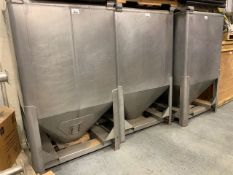 "(1) Tote Bulk Handling Systems Stainless Steel Tote, 47"" x 42"" x 80"" tall, approx 10"" diameter"