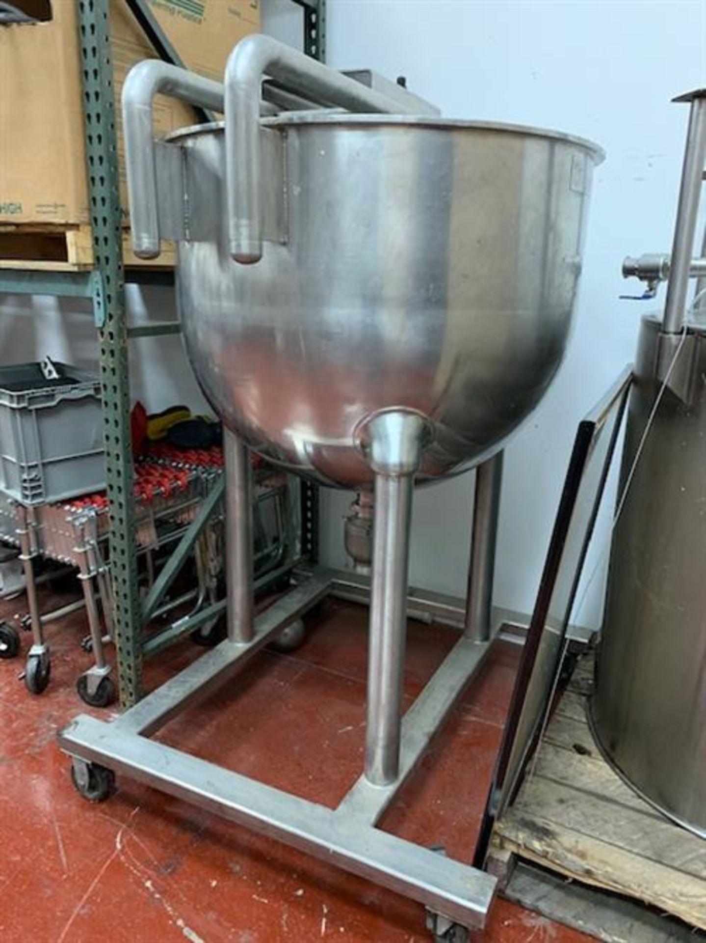"""Groen N-150 SP 150 Gallon Stainless Steel Kettle - 42"""" diameter x 34"""" deep - Not jacketed - Bridge"""