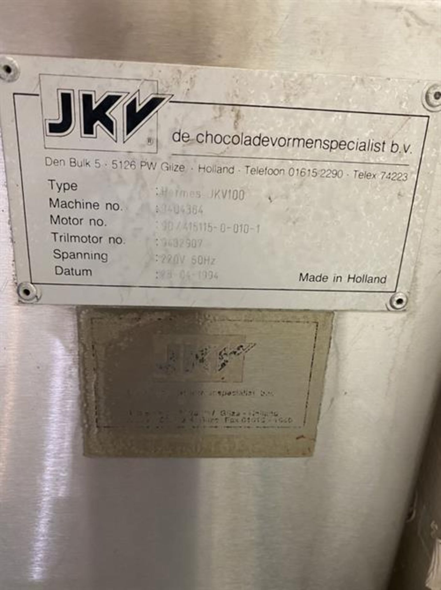 JKV Model 100 Tempering Melter - Serial number 9404364 - Built new in 1994 - 100kg batch - Image 3 of 3