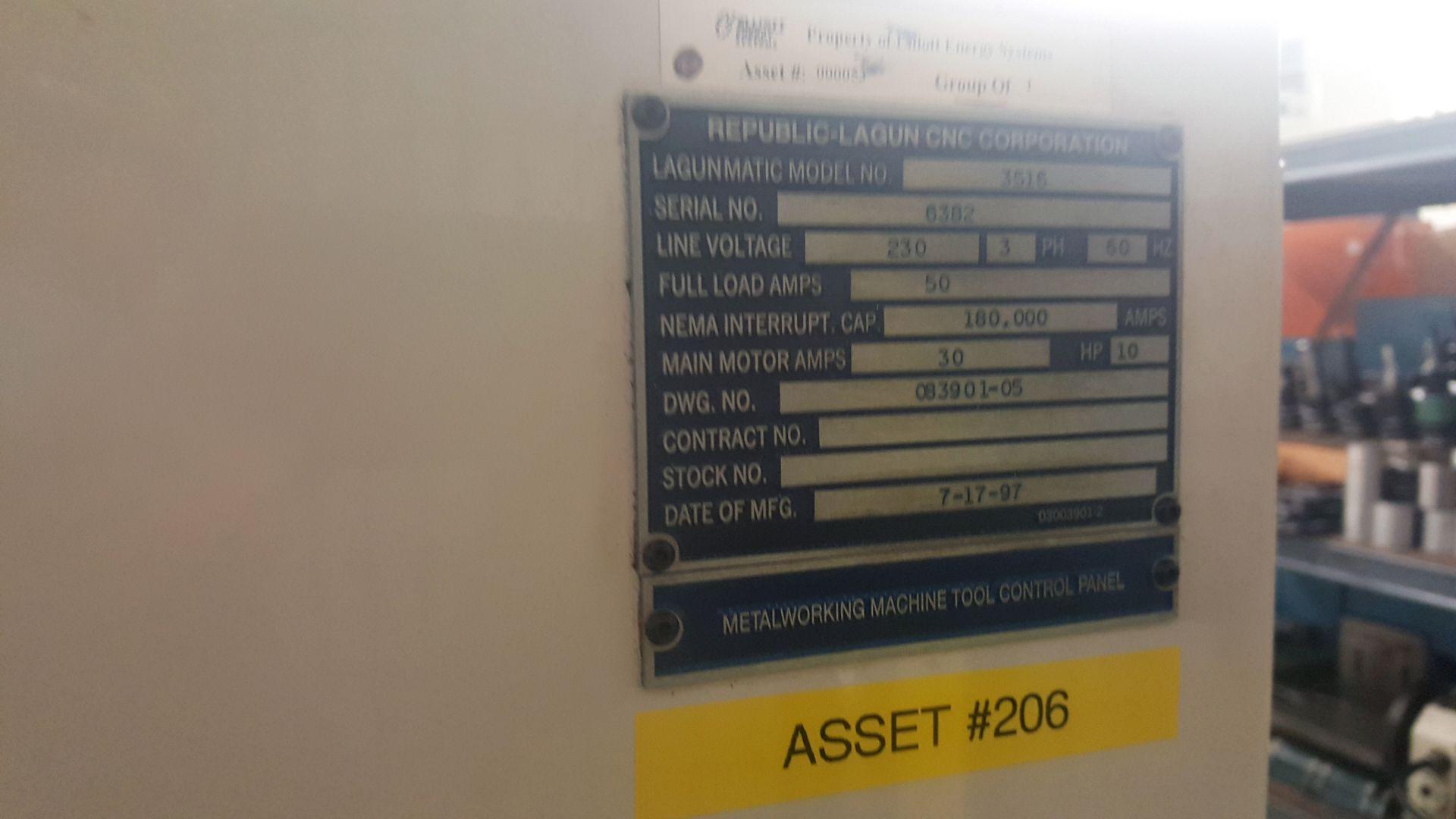 "Lot 6 - Republic Lagun 4 Axis Model 3516 CNC Vertical Machining Center 16"" X 35"" table, 18 tools, 5000"