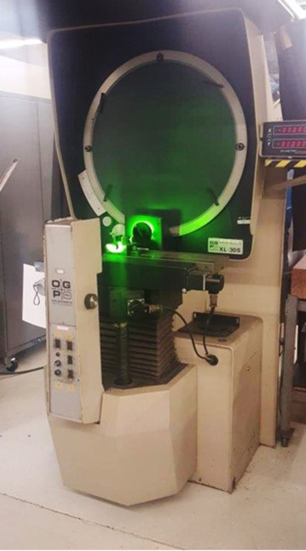"OGP 30"" Optical Comparator Projector, Model IXL-827, XL30S, S/N 8270292, under power"