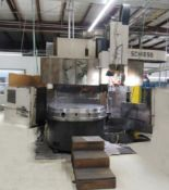 """Schiess 63"""" table CNC Vertical Turret and Boring Lathe, Fanuc control, 4 way tool block and 8"""