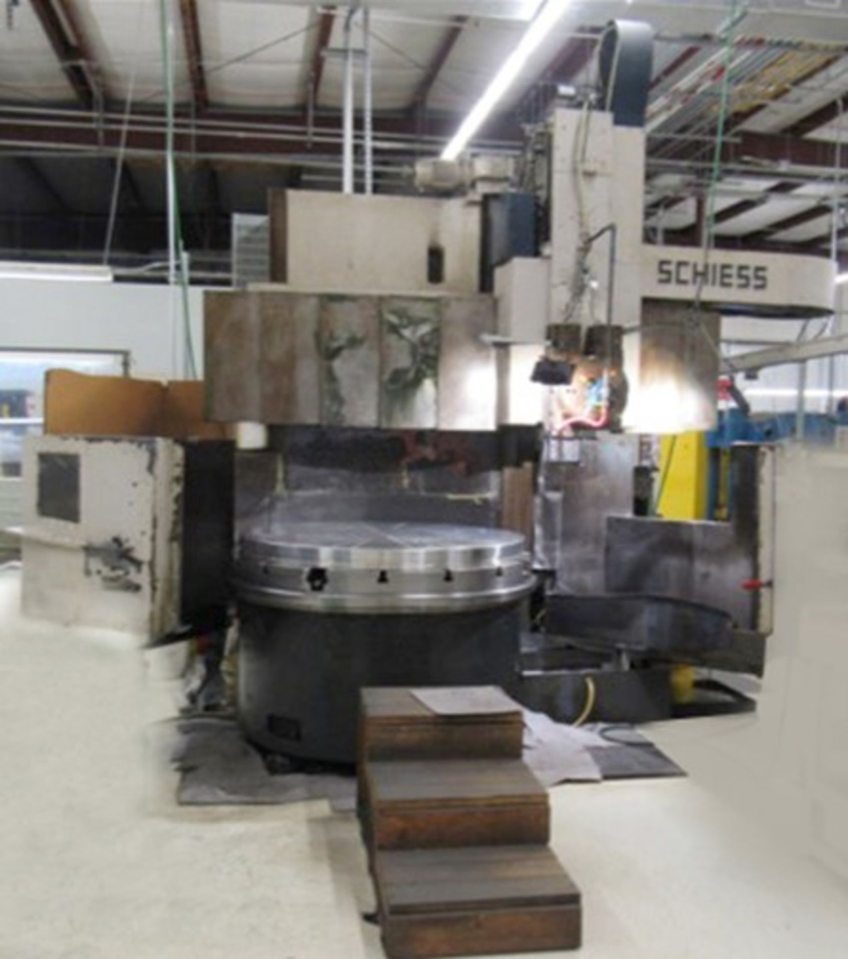 """Lot 3 - Schiess 63"""" table CNC Vertical Turret and Boring Lathe, Fanuc control, 4 way tool block and 8"""
