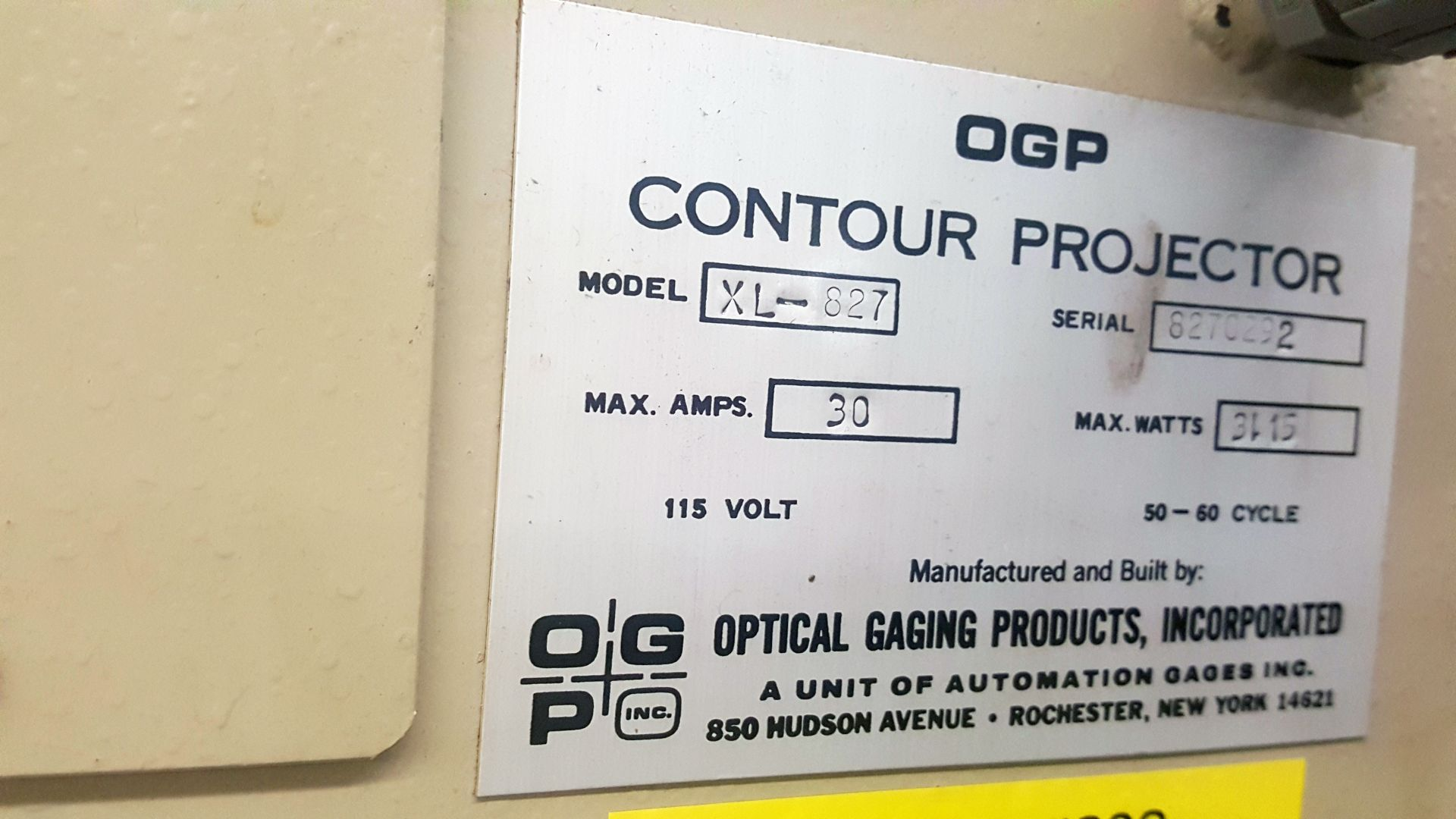 "OGP 30"" Optical Comparator Projector, Model IXL-827, XL30S, S/N 8270292, under power - Image 7 of 8"