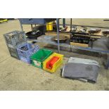 Lot-(2) Sledge Hammers, Milk Crates, Bins, Moving Blanket, Oil Pans, ETC.