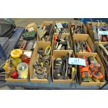 Lot- Tape Measures, Screwdrivers, Pliers, Brushes, Eye Bolts, Marking Crayons, Etc in (9) Boxes
