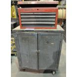 2-Door Portable Cabinet with 4-Drawer Flip Lid Tool Box