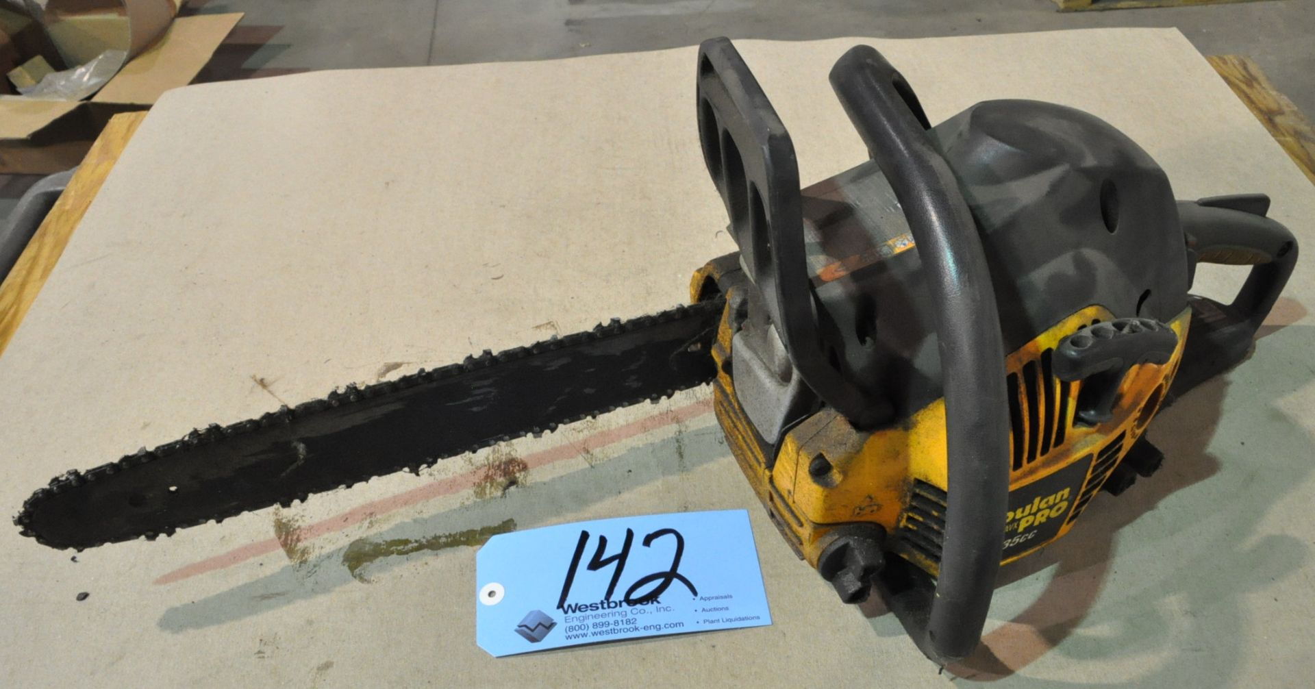 """Lot 142 - Poulan Pro PP3516AVX, 16"""" Gasoline Power Chain Saw Under Table"""