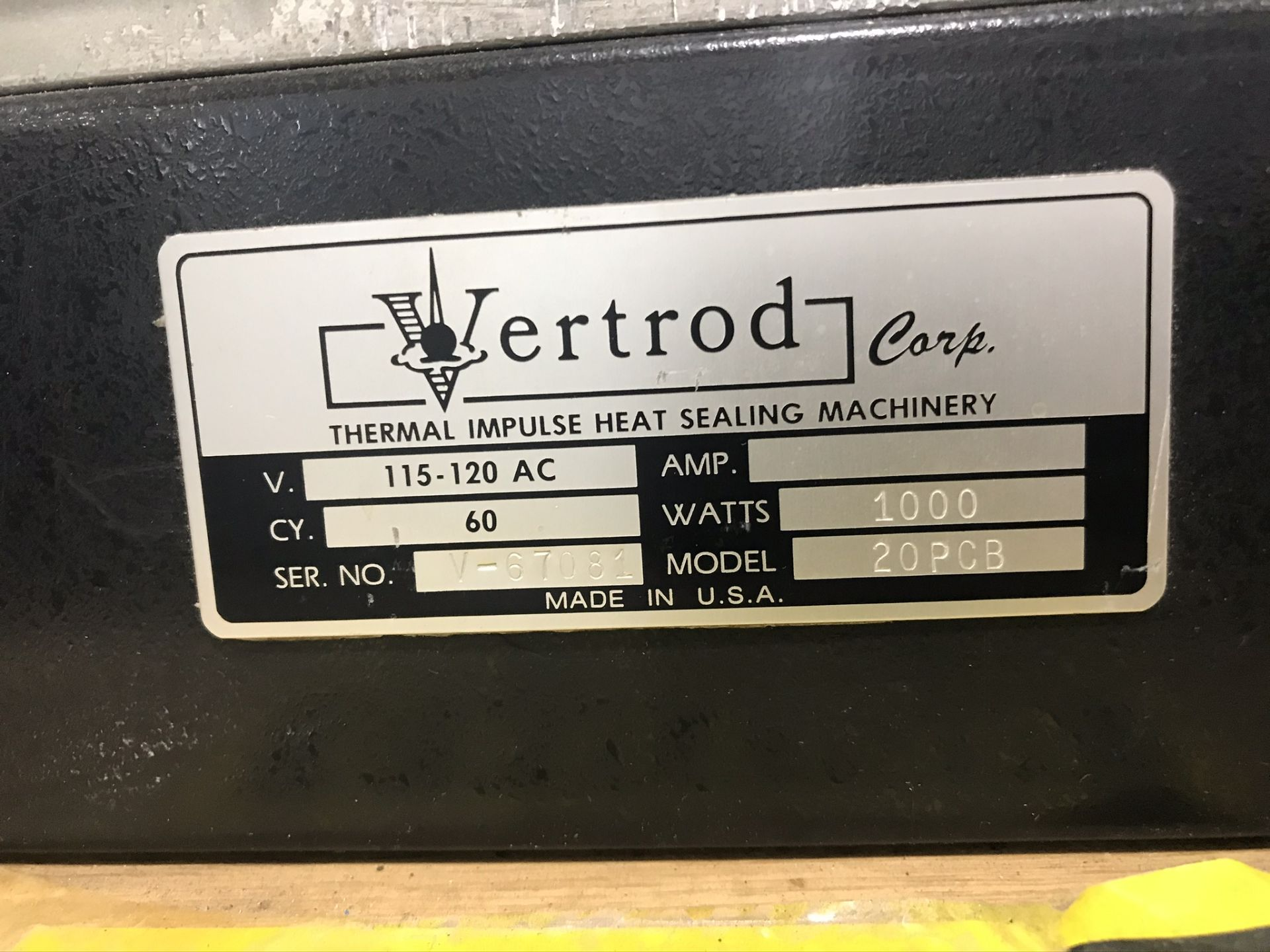 Vertrod 20PCB Pneumatic Thermal Impulse Sealer w/ Portable Elect Foot Pedal & Stand - Image 3 of 3