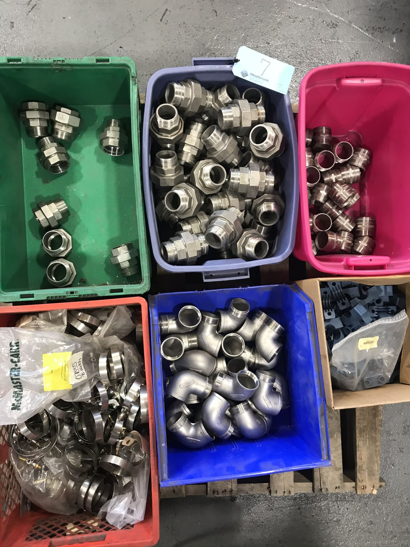 Pallet (6) Boxes with Stainless Steel Couplings & Fittings