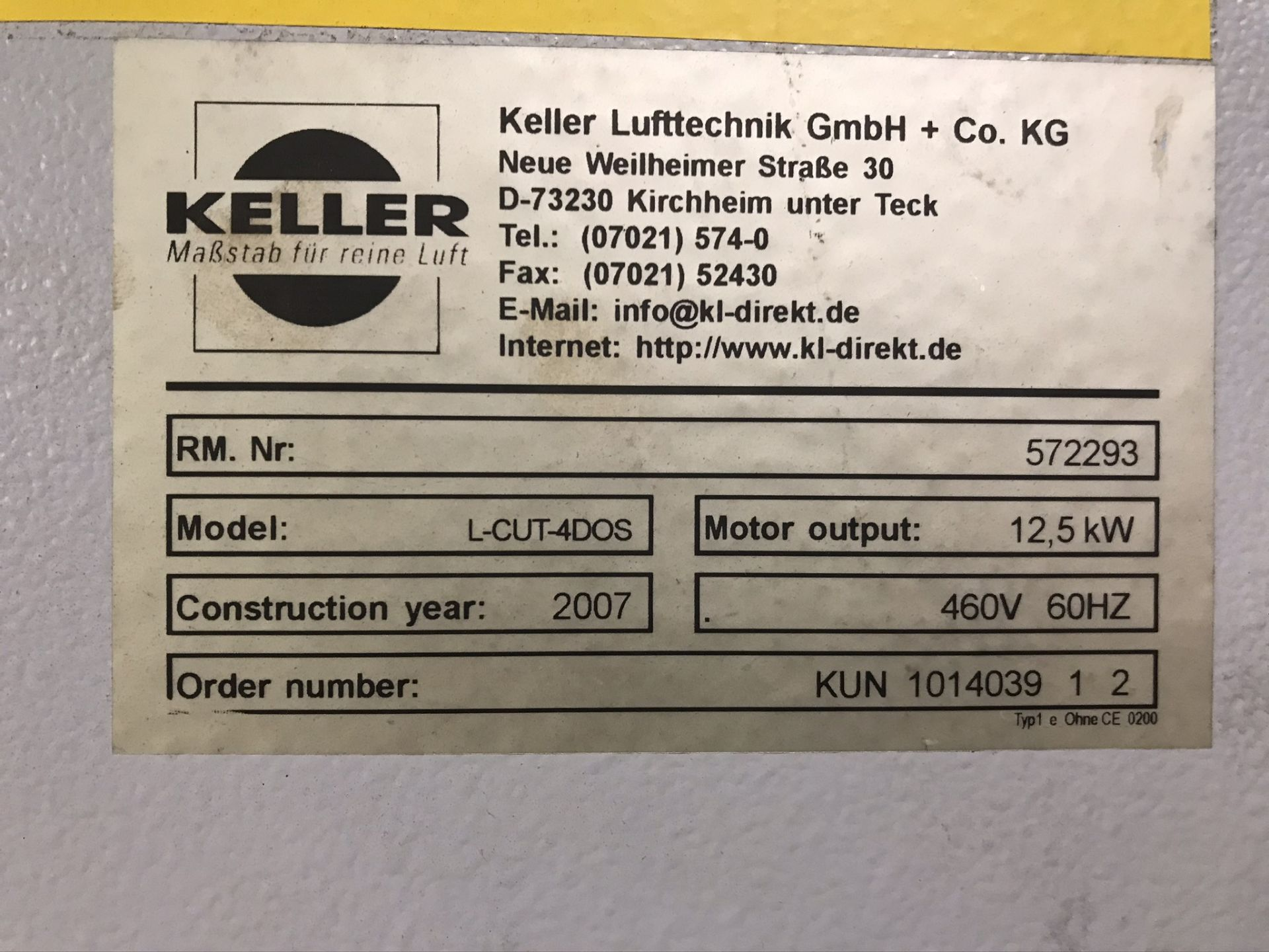Lot 2 - Keller L CUT Dust Collector Complete w/ Activated Charcoal Exhaust, Dust Injector and Exhaust Duct